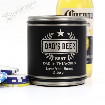 Engraved Matte Black Fathers Day Stainless Steel Stubby Holder