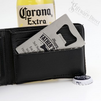 Engraved Fathers Day Credit Card Bottle Opener with Free Gift Box