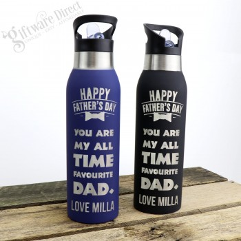 Father's Day Thermal Engraved Stainless Steel Water Sports Drink Bottle Blue