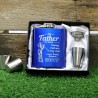 Fathers Day 7oz Blue Hip Flask Gift Set Personalised