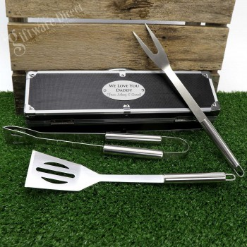 Engraved Fathers Day BBQ Utensil Set Personalised