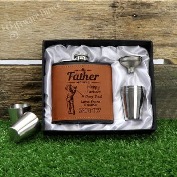 Fathers Day 6oz Black/Brown Leather Hip Flask Gift Set Personalised