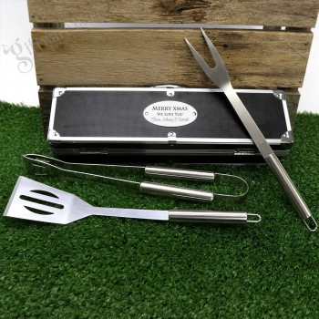 Engraved Christmas BBQ Utensil Set Personalised