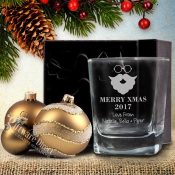 Engraved Christmas Scotch Whiskey Quartet Glass
