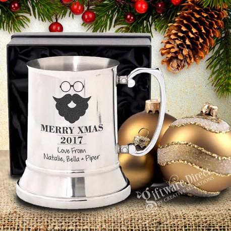Personalised Stainless Steel Christmas Beer Mug Gift with laser engraving design