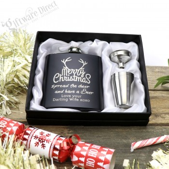 Personalised Stainless Steel Black Hip Flask Gift Set with unique christmas designs