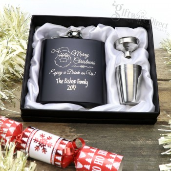 Christmas Engraved Black Hip Flask Gift Set Present