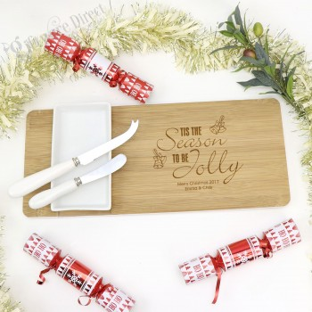 Christmas Engraved Bamboo 4pce Dip Bowl & Board Set Personalised