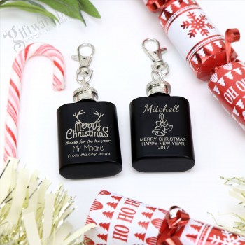 Engraved Black Mini Hip Flask Keyring Personalised Christmas Gift