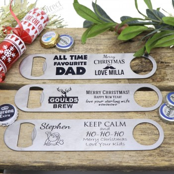 personalised engraved christmas stainless steel bottle opener gift present