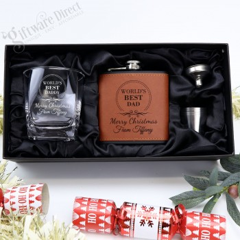 Ultimate Christmas Pack - Brown Leather Flask & Whiskey Glass Set