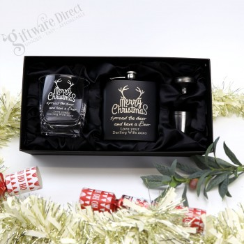 Ultimate Christmas Personalised Gift Pack Black Flask + Glass Engraved