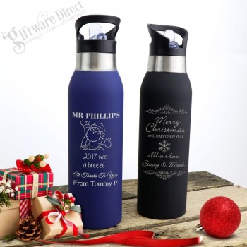 Christmas Engraved Stainless Steel Soft Feel Water Sports Drink Bottle