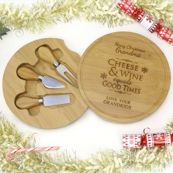 Christmas Engraved Round Cheese Board Personalised