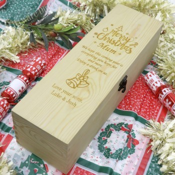 Personalised Christmas Wooden Wine Box -Great Xmas Gift For Family, Teacher or Secret Santa
