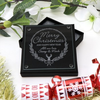 Personalised Engraved Christmas Glass Coaster Gift Set of 4