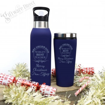 Set of Engraved Stainless Steel Water Bottle and Travel Coffee Mug Thermal Christmas
