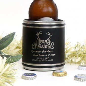 Engraved Matte Black Christmas Stainless Steel Stubby Holder