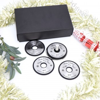 Personalised Engraved Round Christmas Stainless Steel Coaster Gift Set of 4