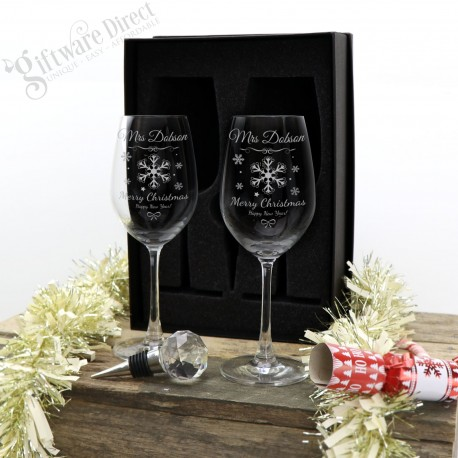 Personalised Engraved Double Wine Glass and Bottle Stopper Christmas Gift Pack