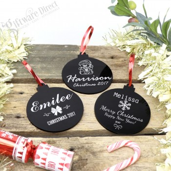 Engraved Personalised Acrylic Christmas Tree Decorations