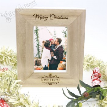 Personalised Engraved Christmas Wooden Photo Frame
