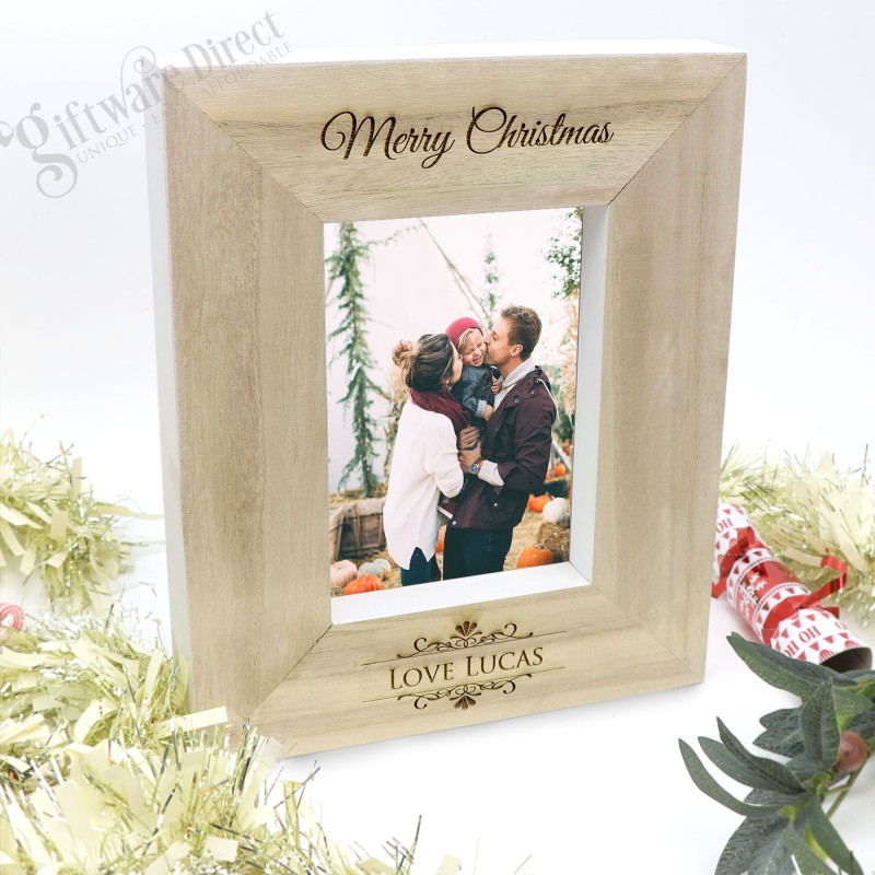 Personalised Wooden Christmas Photo Frame Gift With Custom Detail