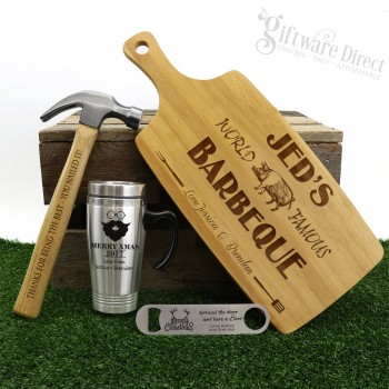 Ultimate Christmas Gift Pack Personalised Engraved Chopping Board, Hammer, Travel Mug & Bottle Opener