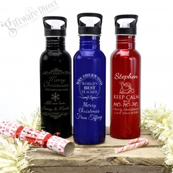 Personalised Christmas Deluxe 800ml Stainless Drink Bottle