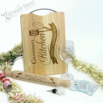 Deluxe Christmas Gift Pack Personalised Engraved Chopping Board, Rolling Pin, Wine Glass, Coasters & Bottle Stopper