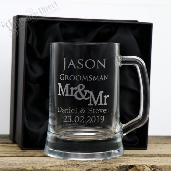 Engraved 500ml Beer Mug Personalised Glass Same Sex Gay Wedding