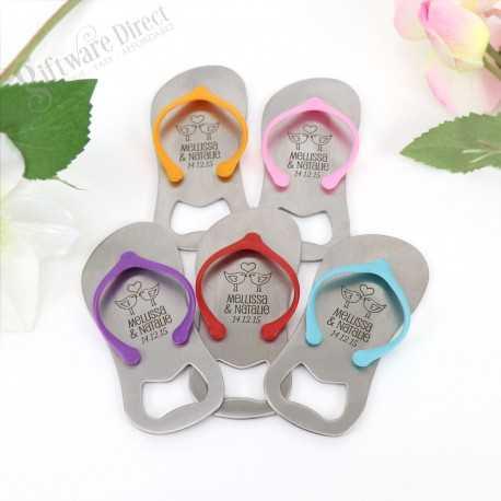 Personalised engraved Flip Flop Thong Bottle Opener in Gift Box (Blue/Pink) Sandal Jandal