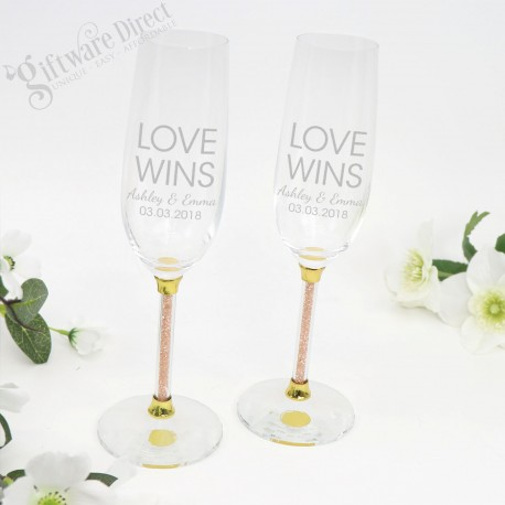 Gold Crystal Stem Engraved Personalised Wedding Toasting Flutes