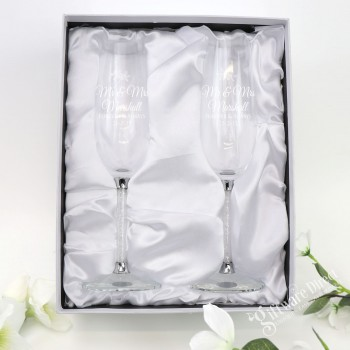 Silver Crystal Stem Engraved Personalised Wedding Toasting Flutes