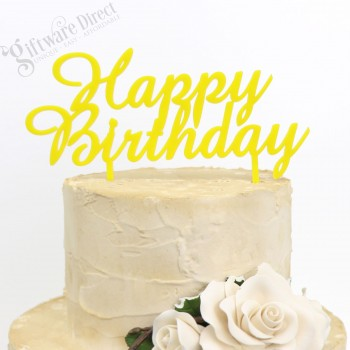 Happy Birthday Cake Topper Elegant Style