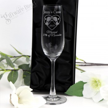 Engraved 215ml Champagne Same Sex Wedding Glasses Personalised