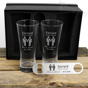 Same Sex Wedding Double 400ml Schooner Glass and Bottle Opener Gift Pack