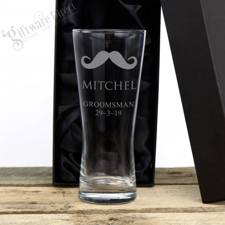 Engraved 400ml Wedding Schooner Glass Personalised Groomsman Gift