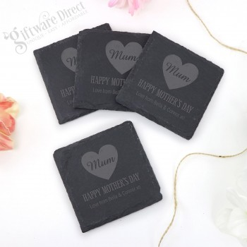 Personalised Mothers Day Engraved Deluxe Natural Slate Coaster Set