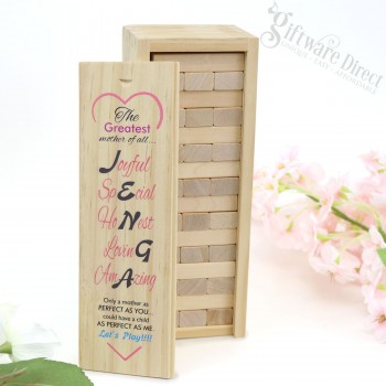 Mothers Day Jenga Wood Block Game with Timber Printed Box Gift