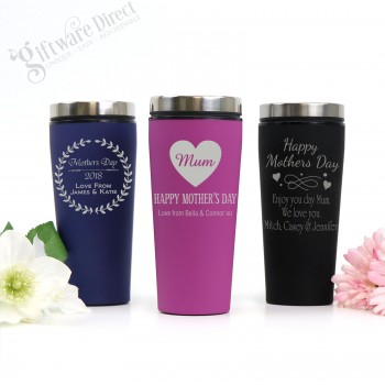 Engraved Personalised Thermal Engraved Coffee Travel Mug Mothers Day