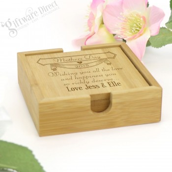 Personalised Engraved Square Bamboo Mothers Day Coaster Gift Set of 4