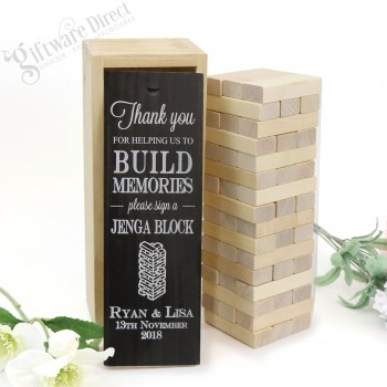 Personalised Jenga Wedding Guest Book Gift