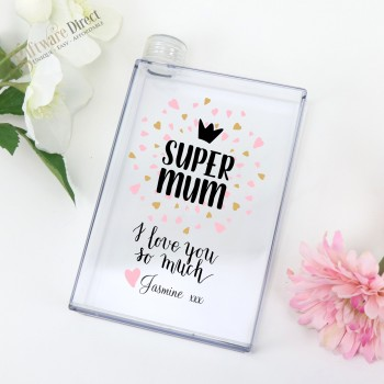 Printed Personalised Mothers Day Flat Notebook Water Bottle Gift