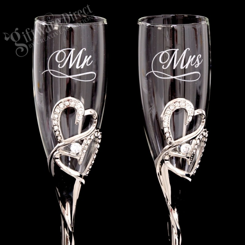 Personalised engraved heart wedding toasting flutes Unique wine glasses australia