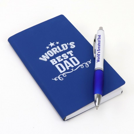 Blue Notebook with Blue Printed Pen Set Fathers Day School Fundraising Gift