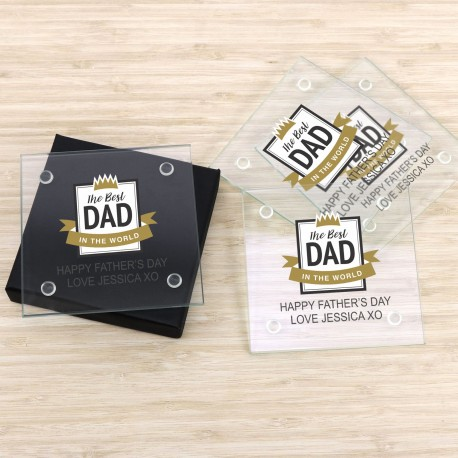 Set of 4 glass coasters personalised in box fathers day bar gift