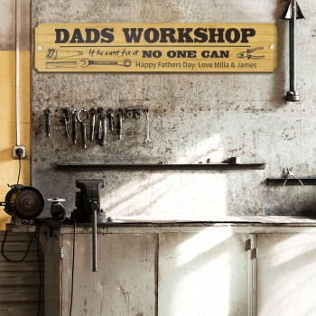 Dad's Workshop Sign Printed Timber Fathers Day Gift Tool Shed Garage Bamboo