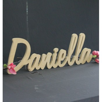 Raw Personalised Freestanding Name Plaque Nursery Word Timber Custom