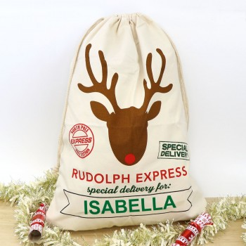 Personalised Red Santa Sack Christmas Stocking Rudolph Reindeer Antlers